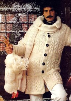 Man, 70s wool jacket combo...not sure what's going on with the chicken.