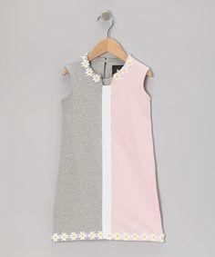 Look at this #zulilyfind! Gray & Light Pink Aurora Daisy Dress - Infant, Toddler & Girls by Llum #zulilyfinds