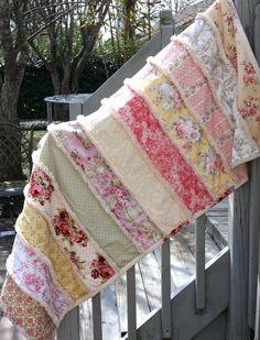 Shabby Chic Strip Rag Blanket / Rag Quilt by CandyUnraveled