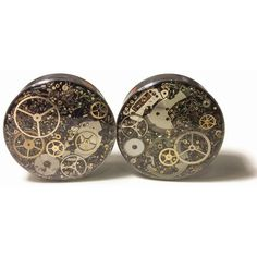 """1 1/2"""" 1 PAIR Single Flare 38mm Steampunk Tunnels Gauges Plugs filled... ($87) ❤ liked on Polyvore featuring jewelry, watches, earrings, piercing, steampunk jewellery, steam punk jewelry, steampunk jewelry, steam punk watches and steampunk watches"""