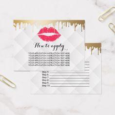 #makeupartist #businesscards - #Makeup Artist Gold Drips Application Instructions Business Card
