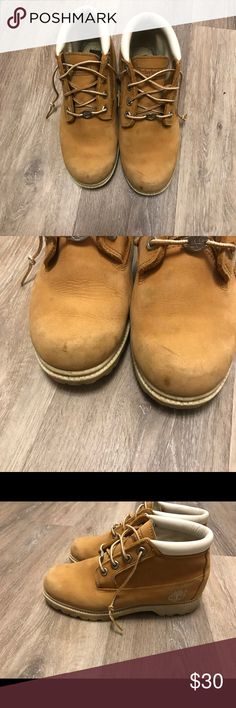Size 6.5 Timberland Boots Size 6.5 Timberland Boots wear on the boots as pictured! Looking to get 30 for them obo! Timberland Shoes Winter & Rain Boots