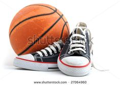 A Pair Of Trainer Shoes And Used Basketball On White Background Stock Photo 27064960 : Shutterstock