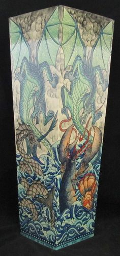 "Heidi Warr, Second Series, ""Battling Dragon"" Extra Large Tower Vase with incised, tubelined and hand painted decoration. Each side decorated with different sea creatures. Limited edition of Five  21"" high  Dated: 2013  www.adantiques.com"