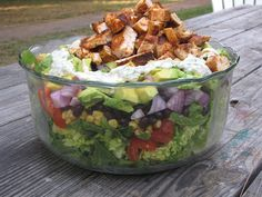 The Gush Gourmet: Grilled Chicken Taco Salad with Creamy Cilantro Li...