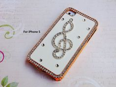 Crystal iPhone 5 case - Rhinestone iPhone case - music iphone 5 case - Leather iPhone5 case -bling phone case-iPhone 5s case- iPhone 5 cover on Etsy, $16.97 AUD