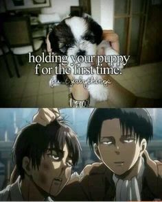 People say Levi doesn't smile. But he looks like he's actually having fun beating the crap outta eren.