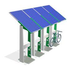 El ePark recarga un vehículo eléctrico con energía renovable a través de un enchufe estándar de 220V AC.