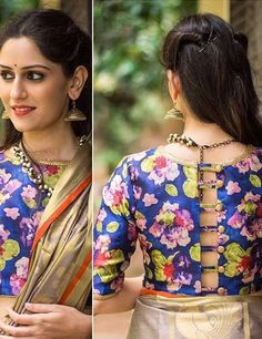 50 Latest Saree Blouse Designs For 2019 That Will Amaze You Blouse Back Neck Designs, Best Blouse Designs, Saree Blouse Designs, Blouse Patterns, Sari Blouse, Latest Saree Blouse, Floral Blouse, Sari Design, Blouse Desings