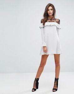 Fashion Union Shift Dress With Ruffle And Lace Insert