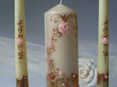 Wedding Hand Painted CandlesGold Painted by InspirellaDesign