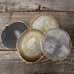 Agate Coasters With Gold or Silver Rims. #stones #agate #opensky