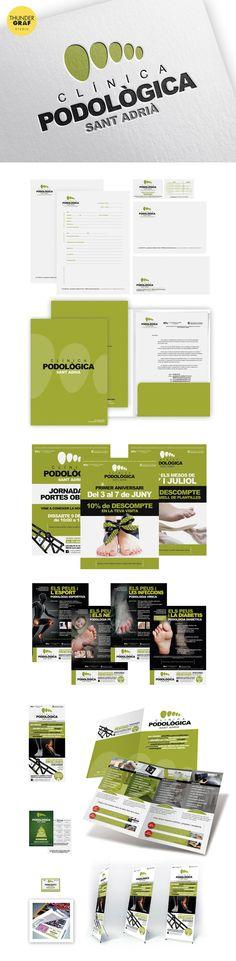 Diseño de logotipo e identidad corporativa para la apertura de la Clínica Podològica Sant Adrià de Barcelona. Incluye aplicaciones en papelería, anuncios, flyers, dípticos y decoración del local así como del coche de empresa.