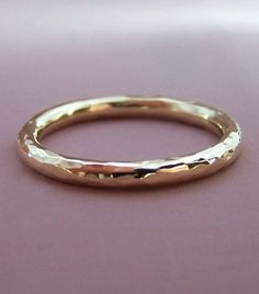14k Gold Simple Hammered Band  2 mm round by esdesigns on Etsy