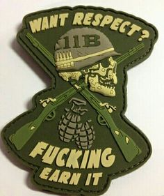 We're fans of the work done by Combat Swag. For obvious reasons we're supporters of 11 Bravos (the MOS and … Military Love, Military Humor, Military Art, Velcro Patches, Cool Patches, Jacket Patches, Biker Patches, Tactical Patches, Tactical Gear