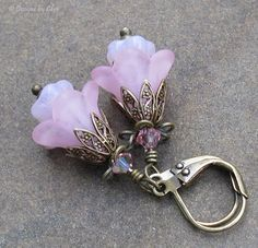 Pink Lucite Flower Earrings Antique Brass by DesignsbyCher on Etsy, $22.00