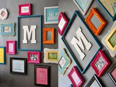 I like the letter inside the open frame. photo-wall-arrangement-wall-art-wednesday