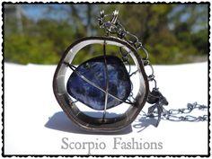 Caged Sodalite Necklace  Sodalite Pendant  Boho by ScorpioFashions