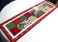 Christmas Charms Quillted Table Runner Blitzen by QuiltSewPieceful