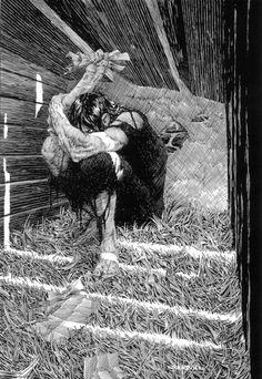 """Bernie Wrightson Illustration of Mary Shelley´s """"Frankenstein"""" Comic Book Artists, Comic Artist, Comic Books Art, Arte Horror, Horror Art, Gravure Illustration, Illustration Art, Art Sketches, Art Drawings"""