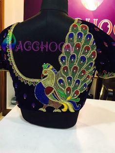 Peacock design back side blouse