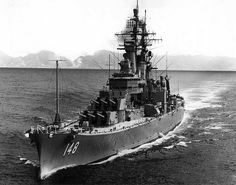 USS Newport News CA-148 - Des Moines class Heavy Cruiser.  Dad could've been on this ship when the picture was taken!