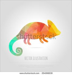 Vector art colorful geometric chameleon isolated. Contemporary spectrum abstract background illustration. Fashion design element positive animal lizard.