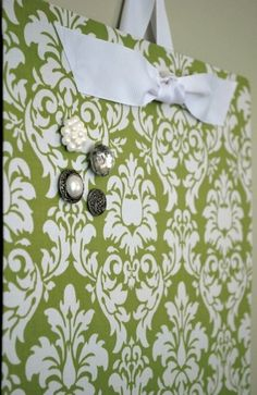 DIY magnet board - cookie sheet covered with fabric by bertha