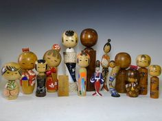 lot of 14 Vintage Japanese Kokeshi Doll