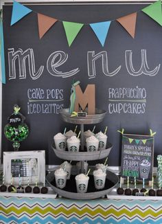 Love the chalkboard look at a Starbucks Birthday Party!  See more party ideas at CatchMyParty.com!