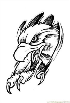 large free printable tattoo designs | ... Tattoo Design Prev 4 (Birds > Eagle) - free printable coloring page