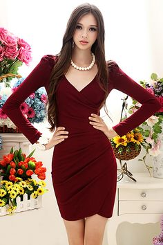 V-neck Wine-red Autumn Dress #Romwe