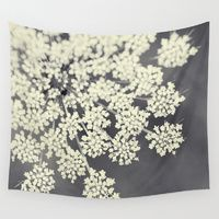 Wall Tapestries featuring Black and White Queen Annes Lace by Erin Johnson