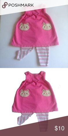 Carter's Kitty Jumper Set Carter's jumper set! Adorable kitty jumper & matching striped pant. Like new condition! Just One You by Carter's Matching Sets