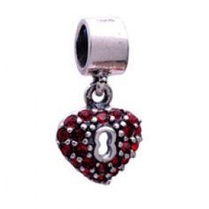 Gems and Silver Red Hearts Dangle Charms  Fit pandora,trollbeads,chamilia,biagi and any customized bracelet/necklaces. #Jewelry #Fashion #Silver# handcraft #DIY #Accessory