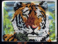 Very detailed quilled tiger head - bottledupexpressions.com