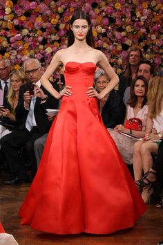 Dior bright Coral gown with structured boustier looks like Jenns dress at golden globes 2013