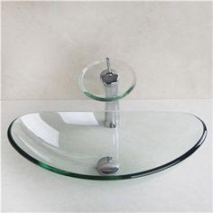 r cipient en verre tremp vier avec robinet cascade drainage et anneau de montage lavabo. Black Bedroom Furniture Sets. Home Design Ideas