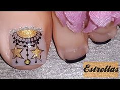 Decoración de uñas PIE/ Modelo de uñas para pie/uñas decoradas con Estrellas doradas - YouTube Make It Yourself, Nails, Youtube, Templates, Gold Stars, Nails With Stripes, Pedicures, Finger Nails, Ongles