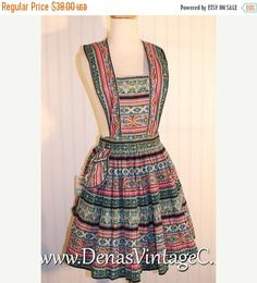 30% OFF SALE Vintage Lowenstein Ever Pleat Full Apron by Bonafab Pink Black Teal Yellow Gold NWT