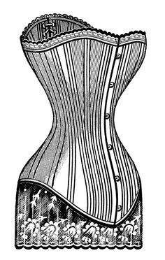 Long-Waisted Victorian Corset #1 ~ Free Vintage Clip Art