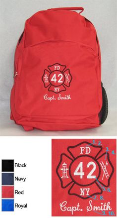 Custom Fire Department Commuter Backpack with Maltese Cross $31.95
