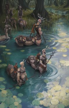 Party of 3 riding Party of Centaurs River Crossing deciduous forest