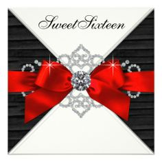 Custom White Diamonds Black Red Sweet 16 Birthday Party Personalized Invitations created by Pure_Elegance. This invitation design is available on many paper types and is completely custom printed. Sixteenth Birthday, 16th Birthday, Birthday Parties, Birthday Ideas, Vegas Birthday, Birthday Bash, Birthday Decorations, Birthday Wishes, Birthday Cards