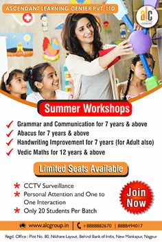 Join us for exciting summer workshops - all of which will expand your knowledge and skills related to abacus , vedic maths, grammar and handwriting improvement. Time spent in summer workshops are investments with long term benefits. Home Tutors, Cctv Surveillance, Learning Centers, Summer Kids, Handwriting, Grammar, Communication, Investing, Have Fun