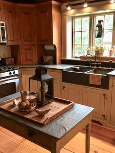 Colonial Kitchen, Country Kitchen, New Kitchen, Primitive Kitchen, Primitive Decor, Kitchen Designs, Kitchen Ideas, Unfitted Kitchen, Stone Homes
