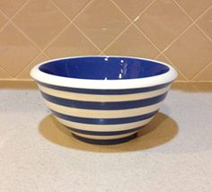"Blue and White Striped, 9"" Medium Mixing Bowl by Terramoto Ceramics"