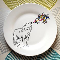 Run With The Wolf Pack  Hand Drawn Plate by InkBandit on Etsy