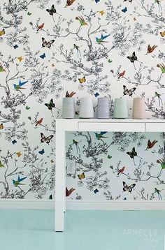 Lynn Chalk - Schumacher Birds and Butterflies Wallpaper Multi on White 2704420, $153.99 (http://store.lynnchalk.com/schumacher-birds-and-butterflies-wallpaper-multi-on-white-2704420/)