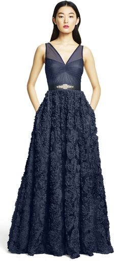 Embellished Petal Chiffon Ball Gown - Adrianna Papell